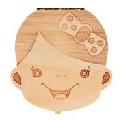 Baby Teeth BoxOdeer Tooth Box Organiser For Baby Milk Teeth Save Wood Storage Box for Kids Boy & Girl ,Spanish
