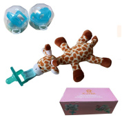 K-JYBA Infant and Baby Pacifier Removable Pacifier & 2XSilicone Pacifier Holder and 2XPacifier Case For Replace-Giraffe