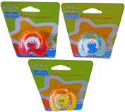 Sesame Beginnings 0+ Month Pacifiers With Characters Big Bird, Elmo & Cookie Monster