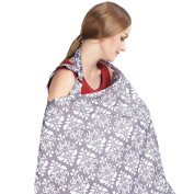 Janeyer Pure Cotton Infinity Breastfeeding Scarf & Nursing Cover Floral Print,Lightweight No See Through