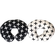 Premium Quality 2 Pack Nursing Pillow Covers by Mila Millie - Nordic Swiss White and Black Cross Unisex Design Slipcovers - 100% Cotton Hypoallergenic - Fits Boppy Pillow - Perfect Baby Shower Gift