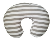 Maternity Breastfeeding Pillow Cover by Danha-Newborn Baby Feeding Cushion Case-Cute Donut Shape Wedge Pillow-Best Infant Support-for New Moms-Grey White Stripe Prints Slipcover-Breathable Soft Fabric