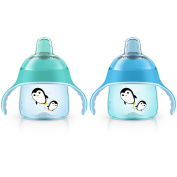 Philips Avent 210ml My Penguin Sippy Cup, 2 Pack, Blue/Teal