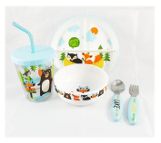 Deluxe Kid Friendly 5 pc Cute Animal Decal Dinnerware Set, BPA Free with Anti-Slip Rubber by Pillowfort