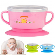 Baby Feeding Bowls,Stainless Steel Bowls,Bagvhandbagro 1Pcs Baby Detachable Double Layer Stay Pu Suction Bowl with Lid Scald-Proof