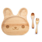 TAMUME Wooden Food Tray for Kids Children Wooden Dish Plate for Baby with 3 Compartment Wooden Bowl Ideal for Children Breakfast Serving Platter or Snack Container