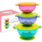 Stay-Put Suction Bowl Feeding Set with Spill-Proof Lid for Babies and Toddlers - Stackable Baby Suction Bowls Come in a Set of 3