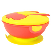 Stay Put and Spill Proof Baby Suction Divided Bowl with Ergonomic Cutlery/Dearya BPA Free High Capacity Section Lunch Bowl with Snap-in Spoon and Fork Lid Feeding Set, 6M+ 700ml