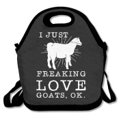 I Just Freaking Love Goats Ok Lunch Tote Bag Special Lunch Bag Black For YOU