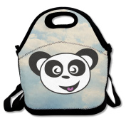 Happy Panda Face Bear Lunch Bags Cute Lunch Carry Bag Black For YOU