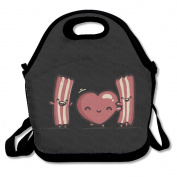 I Love Bacon Lunch Tote Bag H-Q Lunch Bags Black For YOU