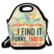 You Find It Offensive I Find It Funny Happy Vintage Lunch Box Tote Bag