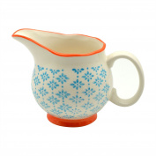 Patterned Porcelain Milk / Gravy / Cream Jug - Blue / Orange - 300ml