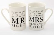 """25th Silver Wedding Anniversary Gift Set of 2 Mugs """"Mr Right & Mrs Always Right"""" Presents"""
