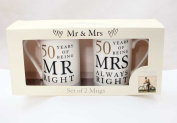 Golden Anniversary Gift Set of 2 Mugs Present 50th Years of Being 'Mr Right & Mrs Always Right'