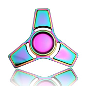 4-6 Mins Hand Fidget Spinner Stress Relief Toy, Colourful Aluminium Alloy Hand Spinner Rinbow Electroplating Metal EDC Fidget Toy Stress Reducer Made Bearing Focus Anxiety Relief Toys for Killing Time