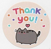 Pusheen Thank You Stickers - A4 Sheet of 15 x 50mm Round Party Bag Stickers