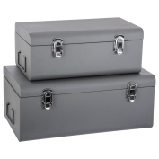 Set of 2 metal storage chests - Trunk design - Colour GREY