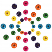 Outus 1000 Pieces Round Wood Beads Assorted Colour Wooden Beads for DIY Jewellery Making, 8 mm, 10 mm and 12 mm