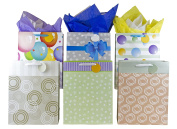 """12 Large Designer Gift Bags 41cm Lx 12""""Wx 6""""D, Best Value Assorted Designs by Heart Paper Products"""