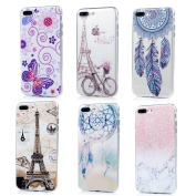 iPhone 7 Plus Case (14cm ) - 6 Pcs Shock-absorption Soft TPU Rubber Skin Bumper Case Transparent Crystal Clear Cute Colourful Print Patterns Ultra Thin Slim Protective Cover by Badalink - Group 3