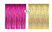 Pink & Gold Foil Fringe Door & Window Curtain Party Decoration 0.9m X 2.4m