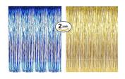 """Foil Fringe Door & Window Curtain Party Decoration 0.9m X 2.4m (90cm X 240cm ) """"Value Pack of 5.1cm Blue & Gold"""