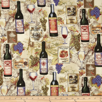 Vineyard Collection Wine Collage Ivory Fabric By The Yard