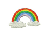 2 small pieces RAINBOW & CLOUDS Iron On Patch Applique Embroidered Motif Fabric Children Decal 2.2 x 1.4 inches