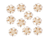 10pcs 25mm Rhinestone Flower Embellishments Button Flatback