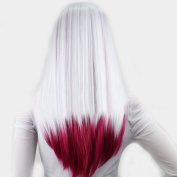 "V""NICE White Ombre Dark Pink Synthetic Lace Front Wig Straight Heat Resistant Fibres Glueless Wigs"
