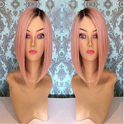 Short bob straight hair lace front wig ombre 1b#/dark pink 30cm & 70cm natural straight hair glueless lace wig (41cm , #1b/dark pink)