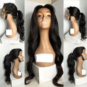 Free Part Body Wave Long Black Hair Colour 70cm Hair Synthetic Glueless Lace Wig for Woman (70cm , black)