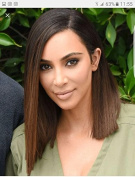 WOB Hair Kim Kardashian Wig 180% Density Ombre Colour Side Part Perfect Layer Bob Wig Human Hair Lace Front Wig 36cm 1b#/4# Ombre colour