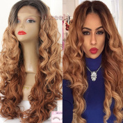 Oxeely Ombre Blonde Synthetic Wave Lace Front Wig for Black Women Heat Resistant Wig 60cm