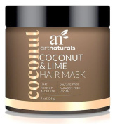 ArtNaturals Coconut and Lime Hair Mask – 240ml – Replenishing Hydration – Deep Conditioner For All Hair Types – Sulphate-Free, Paraben-Free and Vegan – Coconut, Lime, Aloe Vera and Rosehip