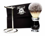 Black Handle Men's Shaving Brush .Four Different Types Of Pure Badger Hair To Choose With Wire Brush Stand. Perfect for All Skin Type & Shave