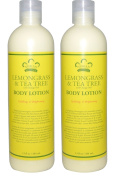 Nubian Lemongrass and Tea Tree Body Lotion (Pack of 2) With Orange Peel and Shea Butter, 380ml Each