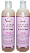 Nubian Patchouli and Buriti Body Wash (Pack of 2) With Shea Butter and Patchouli Oil, 380ml Each