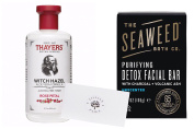 Thayers Alcohol-free Rose Petal Witch Hazel with Aloe Vera, The Seaweed Bath Co. Purifying Detox Facial Bar (Unscented), and LP Card