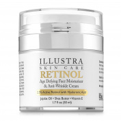 Best Retinol Anti-Ageing Anti-Wrinkle Face Moisturiser by Illustra Skin Care – Organic Hyaluronic Acid, All-Natural Botanicals of Green Tea, Jojoba Oil, Shea Butter - Moisturises & Hydrates Dry Skin