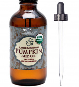 US Organic Pumpkin Seed Oil, USDA Certified Organic,100% Pure & Natural, Cold Pressed Virgin, Unrefined in Amber Glass Bottle w/ Glass Eyedropper for Easy Application (4 oz