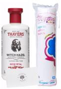 LP Bundle - Thayers Rose Toner Witch Hazel (alcohol-free), 80 Cotton Facial Pads, and LP card