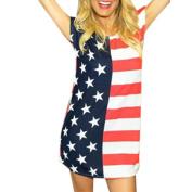 . AMA(TM) Women Sexy American Flag Print Blouse Short Sleeve Mini Dress