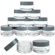 Beauticom 36 Pieces 20G/20ML Round Clear Jars with Grey Lids for Make Up Powder, Eyeshadow Pigments, Lotion, Creams, Lip Balm, Lip Gloss, Samples - BPA Free