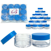Beauticom 24 Pieces 20G/20ML Round Clear Jars with Blue Lids for Jams, Honey, Cooking Oils, Herbs and Spices - BPA Free