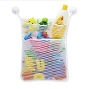 Hysagtek Bath Toy Organiser Mesh Net Storage Bag Holder with 2 Heavy Duty Suction Hooks for Toddlers and Kids