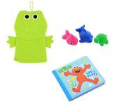 Sesame Street Bath Tub Book, Baby Wash Cloth Puppet And Tub Toys - Elmo Book Set