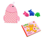 Sesame Street Bath Tub Book, Baby Wash Cloth Puppet And Tub Toys - Zoe Book Pink Set