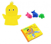 Sesame Street Bath Tub Book, Baby Wash Cloth Puppet And Tub Toys - Ernie Book Yellow Set